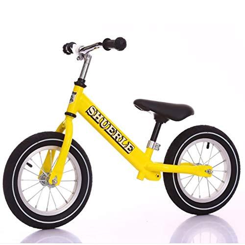 WXX Sports de Plein air No Pédale Deux Tours Diapo Solde Voiture 12inches Siège réglable Convient pour Environ 2-6 Ans Les Enfants de vélos,Jaune