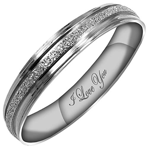 Everstone Women's Sparkle 4MM Flat Promise Ring Wedding Bands Titanium Ring Color: Platinum Engraved I Love You
