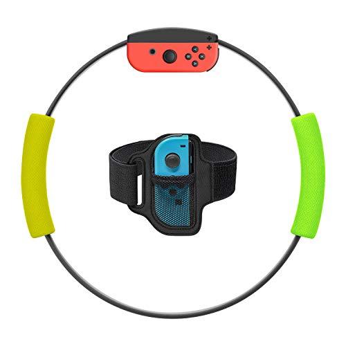 MENEEA Poignées pour Ring-Con et sangle de jambe pour jeu Nintendo Switch, poignées antidérapantes Kit de sangle de jambe réglable pour Switch JoyCon Fit Adventure (Ring Con ne inclus )(Jaune et vert)