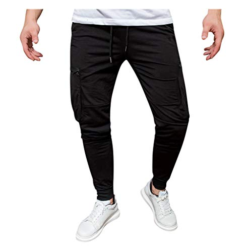 Sportbroek Running Jogger joggingbroek heren Long Leisure Jogger Cargo chino jeans broek elastische Wais Slim Fit Karo broek XXXL wit