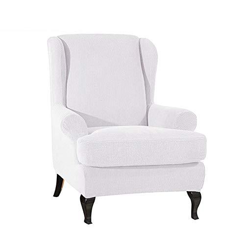 Wingback stoelhoezen, 2-delige stretch wing stoelhoezen Elastische stoffen fauteuilhoes, polyester spandex stof Antislip fauteuil hoes-Wit