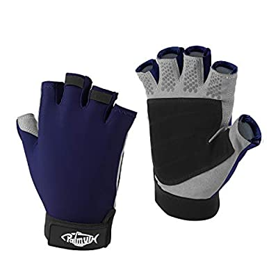 Palmyth UV Fishing Gloves Sun Protection Fingerless Kayaking Glove Men Women UPF 50+ SPF for Sailing, Hiking, Paddling, Canoeing, Rowing, Driving (Navy Blue, X-Large)
