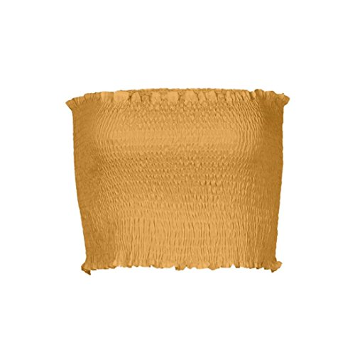 OVERDOSE Frauen trägerlosen elastischen Boob Bandeau Tube Tops BH Dessous Brust Wrap Bluse Sommer Basic Tops (A-Yellow,36 DE/S CN)