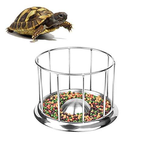 Wontee Tortoise Food Water Dish Feeder Bowl Stainless Steel Tray Dispenser for Lizard Turtle Chameleon Reptiles (M)