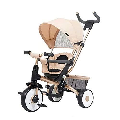 Dreiräder Dreirad Kinderdreiräder Baby Dreirad Reirad Ab 1 Jahr Mit Schubstange Dreirad Mit Schubstange 3 In 1 Kombikinderwagen Leichte Sitzbuggys Umweltschutz Stahl 2 Farben (Color : Beige)