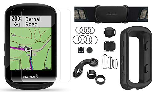 Garmin Edge 530 Sensor Bundle with Chest Strap HRM, Bluetooth Speed/Cadence Sensors, Silicone Case & Screen Protectors (x2) | Cycle GPS, Navigation, Mounts | Bike Computer (Black Case + Sensors)