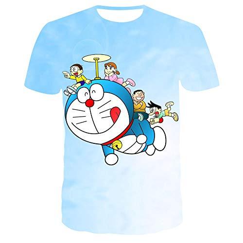 Camisetas Parejas Anime Doraemon Camiseta Manga Corta Cuello Redondo Impresión 3D Comodidad Personalidad Camisetas Unisex