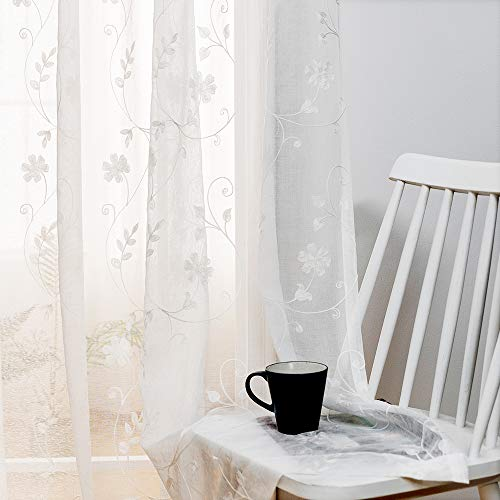 """Floral Embroidery Sheer Curtains White 63 Inch Length, Rod Pocket Voile Drapes for Living Room, Bedroom, Window Treatments Semi Crinkle Curtain Panels for Yard, Patio, Villa, Set of 2, 52""""x 63""""."""