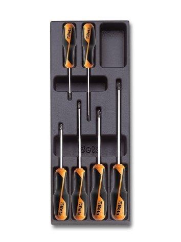 Beta TERMOFORMATI ASSORT 6UT T202 Modulo Rigido con Set di Cacciaviti Beta Grip per Viti con Impronta Phillips®
