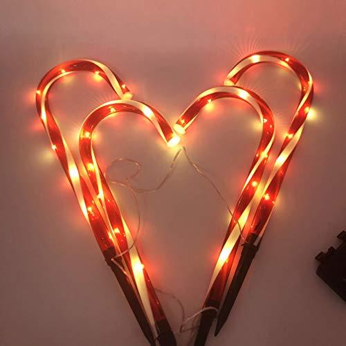 OSALADI 4 piezas navidad led muleta lámpara candy cane camino luz lámpara césped bastón lámpara decoraciones camino marcadores para hogar patio al aire libre