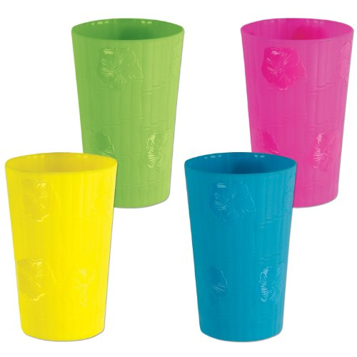 Beistle Plastic Bamboo & Hibiscus Tumbler Cups 12 Piece Luau Party Supplies, Novelty Drinkware, 18 ounces, Green/Pink/Blue/Yellow