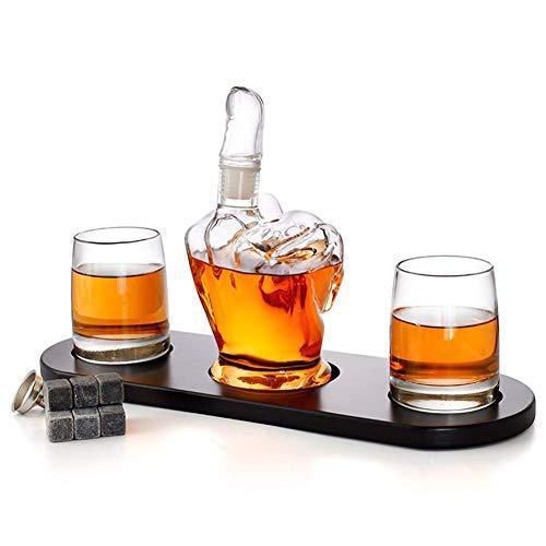 GXYtable cloth Decantador de Whisky y Gafas, con un Dedo Medio en Forma de 2 Gafas de Licor, Regalo de Hombre refrescándose en el Whisky Piedras y Embudo para Ron, escocés, Bourbon, Whisky
