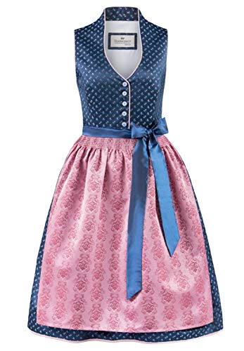 Stockerpoint Damen Dirndl Cynthia Kleid für besondere Anlässe, blau-Rose, 36