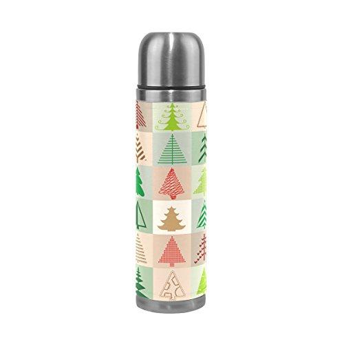 alaza Kerstboom Doos Dubbele Muur Vacuüm Geïsoleerde Roestvrij Staal Water Fles 17 Oz Echt Lederen Cover Verpakt 100% Lekvrij