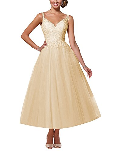 Elegant Brautkleid A-Linie Lang V-Ausschnitt Hochzeitskleid Spitzen Rückenfrei Brautmode Abendkleider mit Träger Champagnerfarbe 42
