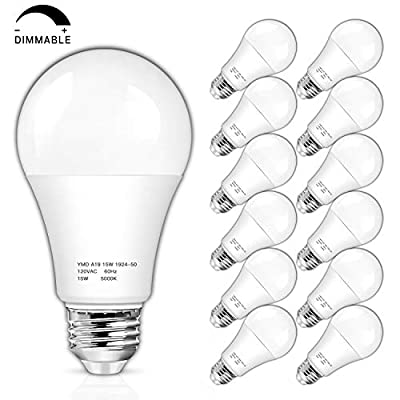 Dimmable A19 LED Light Bulbs 1600 Lumens, 100-125W Equivalent LED Bulb, Daylight White 5000K 15W, Standard E26 Medium Screw Base, No Flicker, CRI 85+, 25000+ Hours Lifespan, Pack of 12