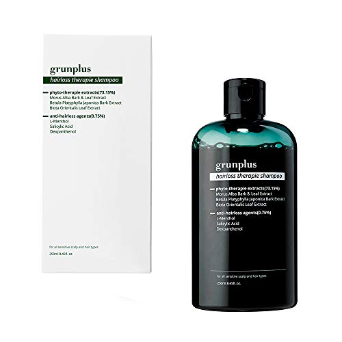 Grunplus Hair Loss Organic Shampoo   8.45 fl oz Hair Growth Shampoo for thinning hair and hair loss   Hair Regrowth with Herbal Essences   Scalp Hair Nutrition   Removes Sebum   Relieves Itching