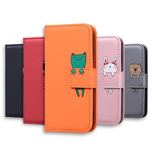 Samsung Galaxy A8s Handyhülle Lederhülle, Annuo Cute Cartoon Tierleder Wallet Hülle, Creative Magnet, Schutzhülle mit stoßfestem TPU, Standfunktion Kartensteckplätze (Orange+Frosch)