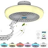 VOMI Ventilador de Techo con Luz RGB Cambiador de Color con Bluetooth Altavoz Música Lámpara de Ventilador LED Regulable Mando a Distancia y APP Silencioso Ventilador para Salón Cuarto Comedor, 72W