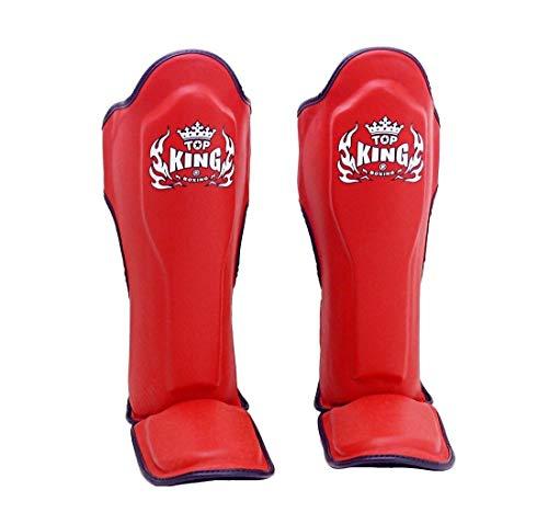Top King Muay Thai Shin Pads TKSGP GL - Shin Guards Pro Genuine Leather -Red w/Black Trim Size: M L XL, Shin Protection for Muay Thai Kick Boxing MMA K1 (Red, L)