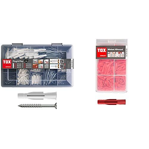 TOX Sortimentskoffer Plug und Play, 320 tlg. mit Allzweckdübel Trika 5x31 mm, 6x36 mm, 8x51 mm + perfekt abgestimmte Schrauben & Mini-Set Allround, Allzweckdübel-Sortiment für alle Baustoffe, 240 tlg