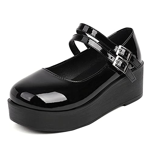 VOMIRA Zapatos de tacón grueso Mary Janes con plataforma para mujer, con correa al tobillo, cuñas, Lolita Halloween Cosplay, (8 Black Patent), 39 EU