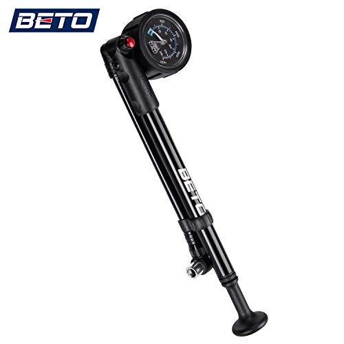 Beto High Pressure Shock Pump - (400 PSI Max) MTB Bike Shock Pump for Fork & Rear Suspension with No-Loss Schrader Valve