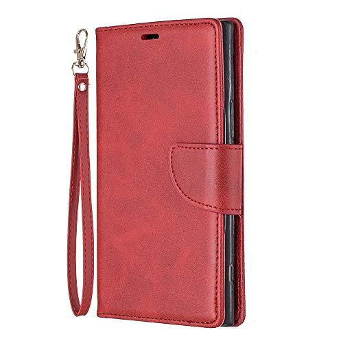 Zl One Compatível com/Substituição para Capa de telefone Sony Xperia XZ Premium PU Couro Proteção Cartão Slots Capa Carteira Flip Capa (Vermelho)
