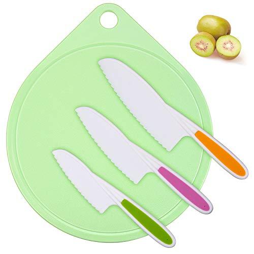 Joyoldelf Kindermesser Schneidebrett Set - Kinder Kochmesser 3 Größen Kunststoffgriff Küchenmesser Ideal zum Schneiden von Brot und Salat (sortierte Farbe)