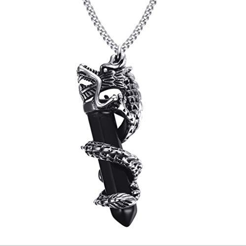 Dragon Plate Black Margarine Casting Pendant Necklace, Titanium Steel Dragon Colgante Personalidad de los Hombres Moda Ornamento 58 MM