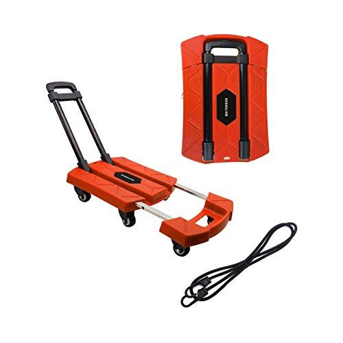 AODAILIHB Portable Folding Luggage Cart 360° Rotate Wheels Load 440 pounds (Orange)