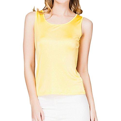 Paradise Silk 100% Silk Knit Women's Sleeveless Tank Top Large Yellow