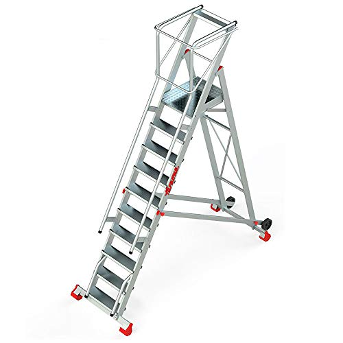 Faraone - Escalera Plegable - Escalera 10 Peldaños - 410x100x82cm - Escalera Almacén 300/SMT - Con plataforma y ruedas - Fabricada en Aluminio - Uso Profesional - Con Barandillas de Seguridad