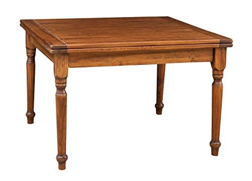 Biscottini Table Extensible à Livre en Bois Massif de Tilleul - Style Country - Structure et Plateau en Noyer L 120 x P 120 x H 80 cm