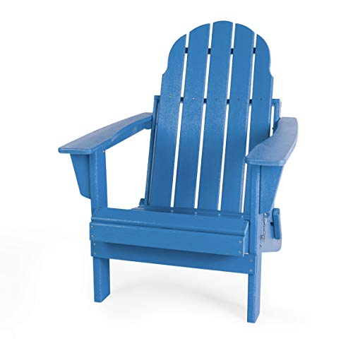 Gettati Foldable HDPE Plastic/Resin Classic Outdoor Adirondack Chair for Patio Deck Garden Backyard & Lawn Furniture (Navy)