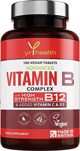 Vitamin B Complex Advanced - All 8 High Strength B Vitamins & Added Vitamin C, D3 & K2 Mk7, Vitamins B1, B2, B3, B5, B6, B12, Biotin & Folic Acid - 180 Vegan Tablets - Made in The UK by YrHealth