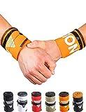 GORNATION® Muñequeras Gym Wrist Wraps Venda Muñeca por Calistenia/Calisthenics, Fitness, Crossfit, Entrenamiento de Peso Corporal Hombre y Mujer (Premium Orange)