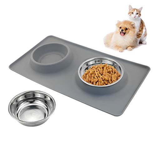 Napfunterlage aus Silikon für Katze & Hunde, TedGem Futtermatte inkl. 2 Näpfe aus Edelstahl, Napf Set Fressnapf Unterlage Food Mat für Haustier, Rutschfest Wasserdicht Faltbar
