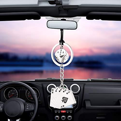 RGHG Colgante del Encanto del Coche Dados Poker Espejo retrovisor con Adornos de decoración de Interiores Automóviles Colgantes Regalos de los Coches Accesorios de Vacaciones (Color : Silver)