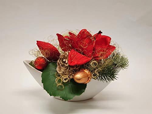 Adventsgesteck Nr.72 creme Schale mit roter Amarillis und Winterdeko Weihnachtsgesteck, Wintergesteck, Advent Adventskranz