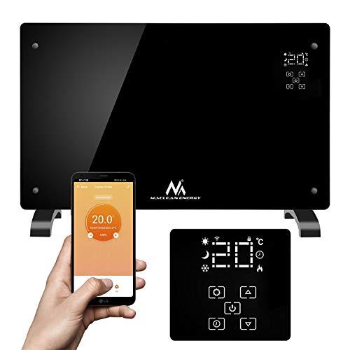 Maclean MCE502 Calefactor de Vidrio Eléctrico 2000W Control WiFi Smart-Life-App Radiador con Patas Calefacción de Pared Pantalla Táctil (Negro)