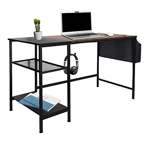 hjh OFFICE WORKSPACE H I 830059 - Escritorio con estante y gancho (120 x 60 cm), color negro y marrón