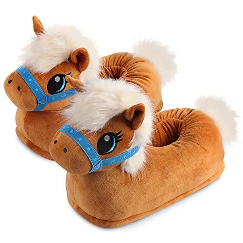 """corimori Süße Plüsch Hausschuhe (10+ Designs) Pony """"Josy"""" Slipper Einheitsgröße 25-33.5 Unisex Pantoffeln Hell-Braun"""