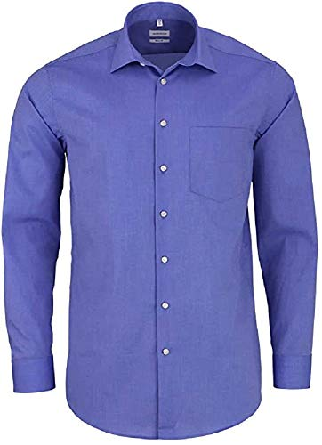 Seidensticker Herren Business Hemd Regular Fit  Langarm, Blau (mittelblau), 44