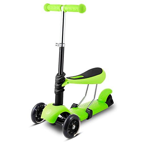 Profun Patinete 3 Ruedas Scooter 3-en-1 con Led Luces con Asiento Extraíble y ManillarSjustable para Niños de 1 a 8 años (Verde)