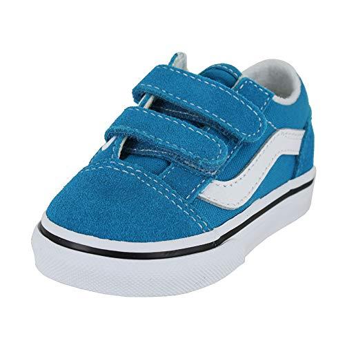 Vans Kids Old Skool V (bebé/niño pequeño) Mar caribeño/Blanco verdadero 5 niños