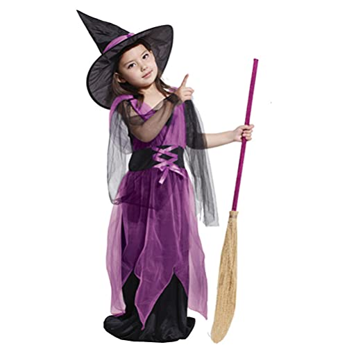 SOIMISS Witch Costume for Girls Purple Witch Dress and Hat Halloween Dress Set Holloween Cosplay Performance Dress- up Costume (Size 130CM)