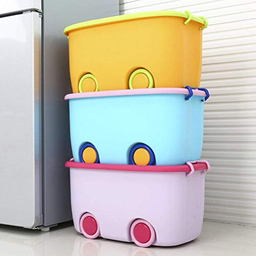 Ash & Roh Stackable Toy Storage Box with Wheels (Multicolour)