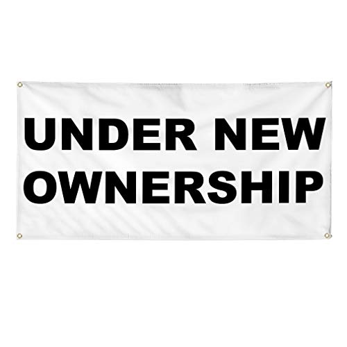 Vinyl Banner Multiple Sizes Under New Ownership Black Business Outdoor Weatherproof Industrial Yard Signs 6 Grommets 36x72Inches