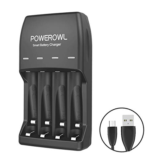 POWEROWL 4 Bay AA AAA Battery Charger (USB High-Speed Charging, Independent Slot) for Ni-MH Ni-CD Rechargeable Batteries (No Adapter)